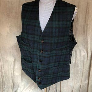 Goodfellow & Co Blue Green Black Watch Plaid VestX